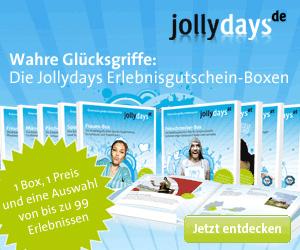 Auch der Anbieter Jollydays kann mit einer Reihe von Geschenkideen aus dem Bereich der Erlebnisgeschenke und Gutscheinen aufwarten.